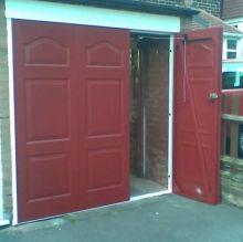 side opening garage door open