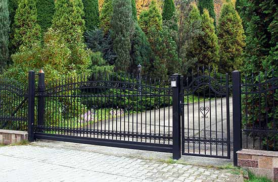 wrought iron gates on driveway