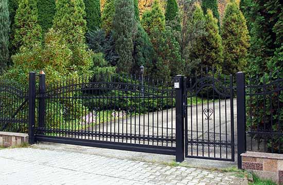 wrought iron gates on driveway