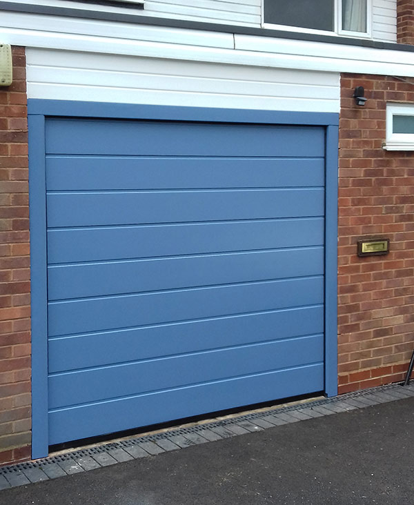Blue Sectional Insulated Garage Door