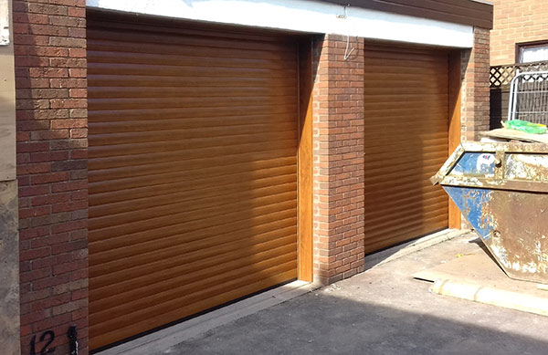 Golden Oak Insulated Roller Garage Doors Installed