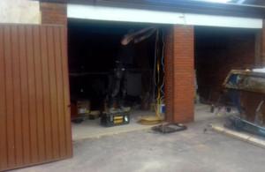 Golden Oak Insulated Roller Garage Doors Before