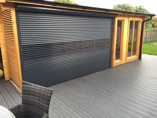 compact aluminium glazed shutters, attractive roller shutters finished in black