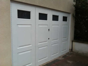 bi-fold double side hinged garage door