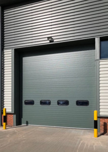 industrial sectional roller door with vision panels