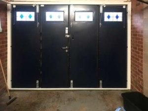 50-50 bifolding side-folding garage-doors interior
