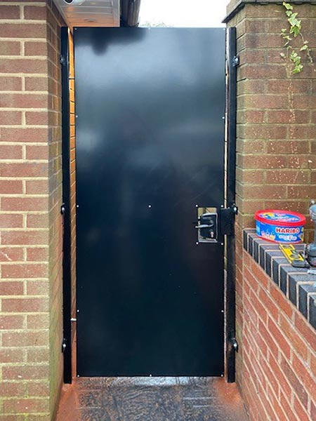 Solid steel gate with galvanised steel frame, powder coated for an attractive finish