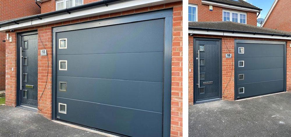 Matching sectional garage-door front door